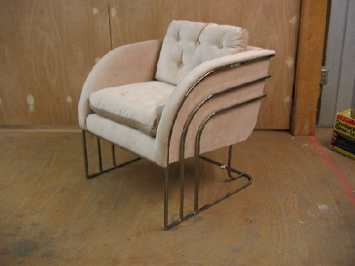Chrome Upholstered Art Deco Armchairs