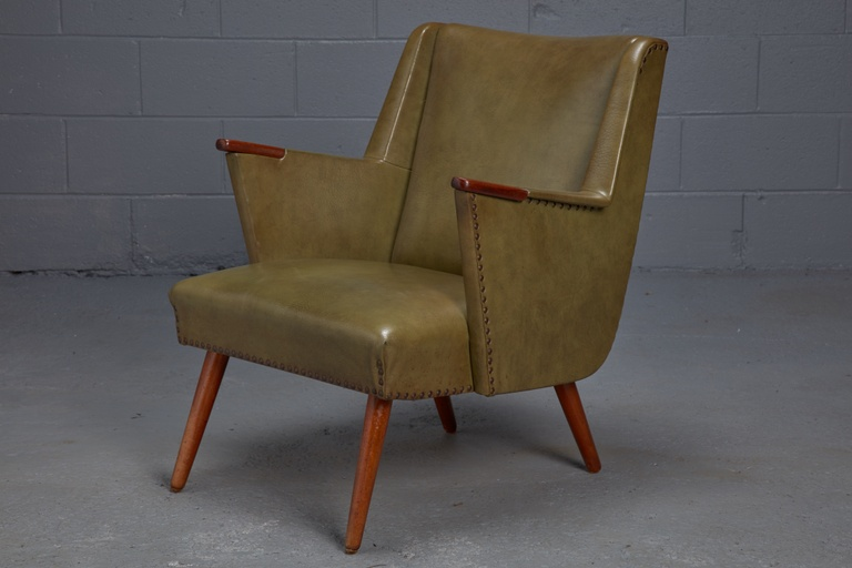 Danish Modern Lounge Chair in Green Leatherette with Teak Paws