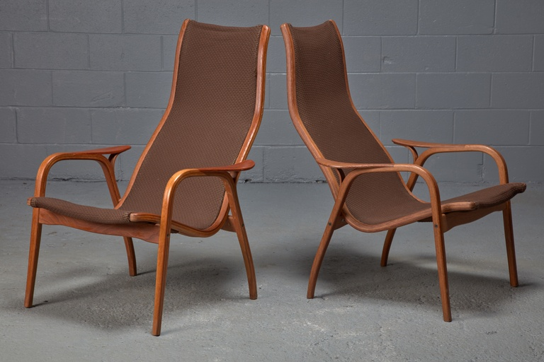 Pair of Oak and Teak Lamino Lounge Chairs by Yngve Ekstrom for Swedese, Mid-Century Swedish