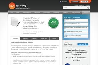Image of Enduring Power of Attorney (Financial, Personal/Health) - QLD from Law Central | Review